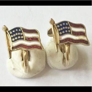AMERICAN FLAG Enameled earrings clip on dainty